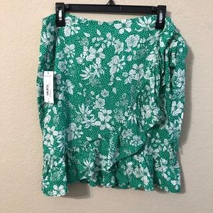 Mixit Skirt Floral Print Ruffle Side Tie Tropical